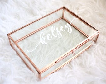 Personalized Glass Box Customized Jewelry Box / Bridesmaid Gift / Personalized Gift / Maid of Honor /jewelry storage / Birthday G