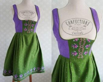 Vintage Dirndl Dress small size. Green and lilac vintage 70s dirndl.