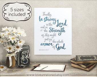 Armor of God, full armor of God, Christian print, Bible poster, armor Bible verse, armor of God verse, Ephesians 6 full armor of God