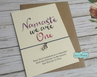 SALE NAMASTE We Are One, Yoga Bracelet, Om Bracelet, Yoga Gift, Namaste Bracelet, Namaste Card, Yoga Card, Gold Om Bracelet,