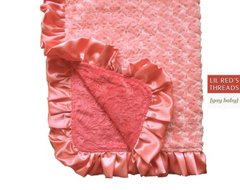 Aurora Double Luxe baby blanket - double minky with satin ruffle -  coral Rose minky,  coral satin, Melon paisley minky