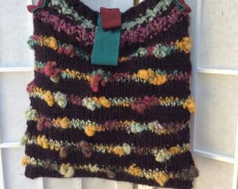 HandKnittedBag ShoulderBag PlumIpad Bag MerinoPurse WearableArt