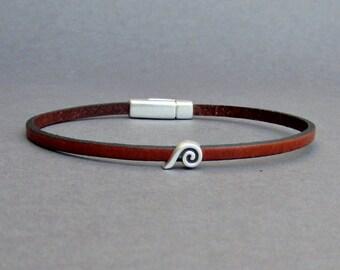 Wave Bracelet Mens Tiny Leather Bracelet Ocean Wave Dainty Bracelet Boyfriend Gift Customized On Your Wrist width 3mm