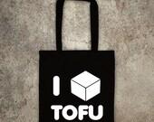 ON SALE I Love Tofu tote shopper bag vegan veggie animal rights alf protest shopping vegetarian