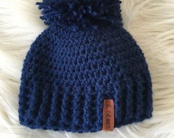 Ready to ship//baby winter hat,Pom pom winter hat, navy toboggan, baby knit hat, modern knittted hat, beanie with a pom pom, crochet hat