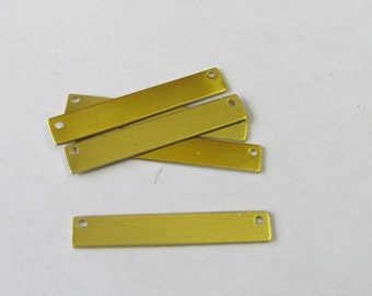 Brass Bar Blanks with holes -1/4 x 1 1/2 -22 G -Tumbled //Stamping blanks //necklace bar blanks//Stamping Supplies//vertical blanks