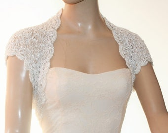 Wedding Bridal Bolero Shrug Lace Crochet Knit  Shrug Boleros Off  White Silver