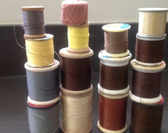 Vintage sewing thread - brown, yellow, gray