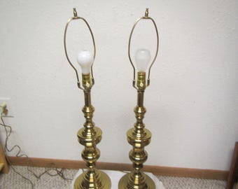 2 Vintage BRASS Table LAMPS ** Bedroom Lamps, Living Room Lamps , 31 In