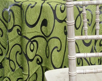 Contempo Scroll Sheer in Green - Ideal for Events, Parties & Home Decor