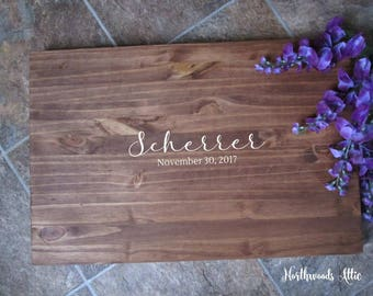 Wedding Guest Book Alternative Last Name Wood Sign - Rustic Guest Sign In - Country Wedding Decor - Choose Your Colors - MADE TO ORDER