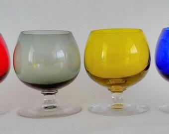 Small Murano Glass Cognac or Brandy Glasses.  Vintage Murano Glasses. Drinks Glasses. Unusual Morano Glasses. 1970's