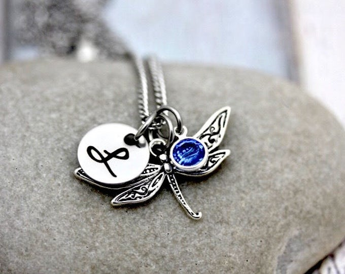 Personalized Dragonfly Charm Necklace