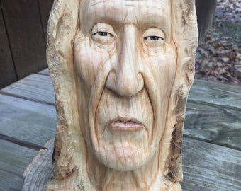 Native American Wood Carving, Indian Sculpture, Chief Bust, Handmade Woodworking, Hand Carved Wood Art, Face Carving, Perfect Wood Gift