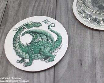 Dragon Coaster, Green Dragon, Dragon Barware, Dragon Gift, Dragon Kitchen Decor, Dragon drink mats, Coasters, Green Dragon
