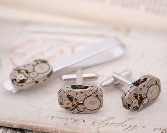 Steampunk Cufflinks and Tie clip set / Watch Movement Tie Bar with Cufflinks / Holiday Gifts for Men / Gift for Partner / Mens Accessories