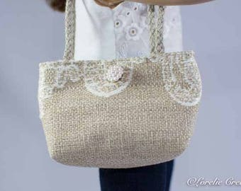 Purse Bag Satchel in Taupe Beige Linen with Lace-look Embroidery for American Girl or 18 Inch Doll