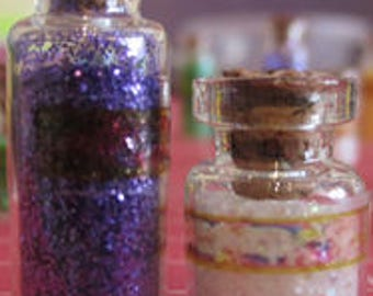 BATH SALTS gorgeous set of 2 labelled jars ONE set is one tall & one short with pretty label