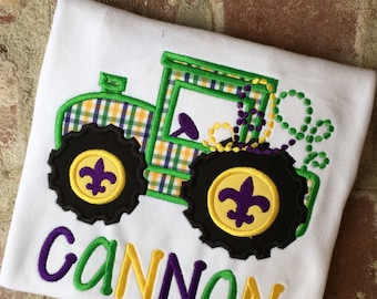 Mardi Gras Tractor with beads appliquéd shirt
