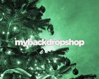 5ft x 5ft Green Christmas Tree Photo Backdrop – Christmas Photography Prop – Item 1768