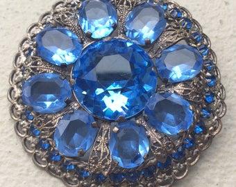 Blue Crystal Brooch Vintage Czech Jewelry