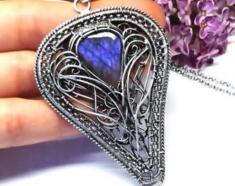 Purple Labradorite, Labradorite Necklace, Labradorite Jewelry, Labradorite, Silver Pendant, Wire Wrap Necklace,cornflower Labradorite
