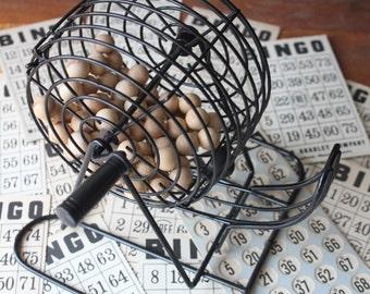 Vintage BINGO set, Wooden Balls, Metal Bingo Wire Hopper and Markers, Bingo Cards
