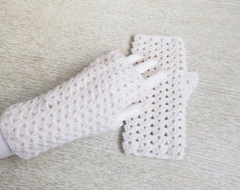 White Lace Crochet Fingerless Gloves, Handmade Fashion Gloves