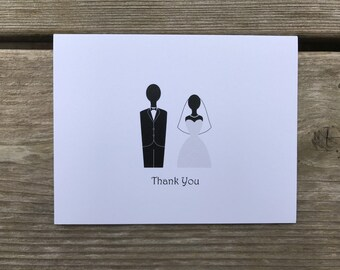 Bride and Groom Thank You Cards - Set of 10