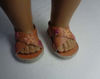 "18""  Doll Sandals -Light Brown Doll Sandals-Shown on my american girl doll"
