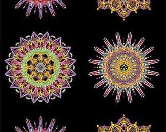 Geometric Fabric by the Yard, Cotton, Panel, Quilt, Black, Kaleidoscope, Medallion, Novelty, Electric, Blue, Purple,  Large Print, Decor