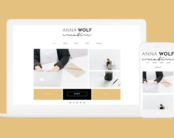 Responsive Wordpress Theme Anna Wolf - 6 Colors - Wordpress Blog Theme - Genesis Child Theme - Wordpress eCommerce Website