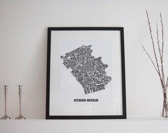 Kitchener-Waterloo City Map Poster - Kitchener Map - Waterloo Art - Typography Map