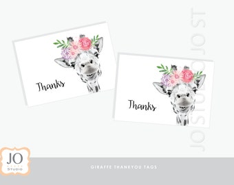 Floral Giraffe / Thankyou Tags / Welcome Sign / First Birthday / Baby Shower / Thanks