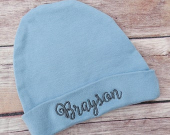 Personalized Newborn Baby Hat - Blue Newborn Hat - Monogram Hat - Embroidered Baby Hat - Hospital Outfit