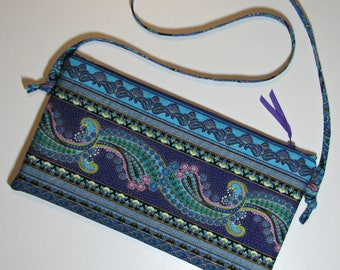 Quilted Evening Bag, Ornate Floral Top Zippered Shoulder Bag with Adjustable Strap, Purple Turquoise Gold, Quiltsy Handmade