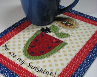"Quilted Mug Mat, Folk Art Candle Mat, Americana Mug Mat, Floral Plant Mat, ""You Are My Sunshine"", Quiltsy Handmade"
