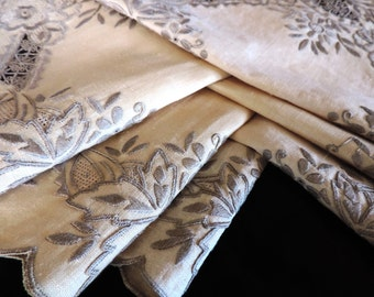 Embroidered Lace Napkins Scalloped Edges Cream Color Linen Six (6) Napkins / Placemats
