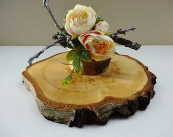 "7-8"" Wood Slice, Wood Cake Stand, Nature Decor, Wood Slice, Tree Slice, Wood Slab, Birch Wood Slice, Rustic Wood Centerpiece"