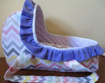 Doll Bed, Bassinet, Moses Basket, Carrier for Bitty Baby, Baby Alive. Cabbage Patch Stuffed Animal