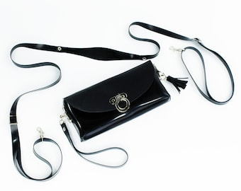 O-Ring Latex Clutch and Shoulder Purse Bag