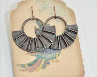 Fan Hoop Earrings, Round disc earrings, Hammered earrings, Hammered circle earrings, Cutout earrings, Dangle hoop earrings, Boho earrings