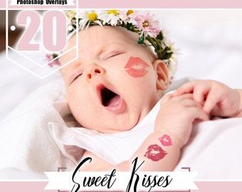 20 Kisses kiss photo overlays, valentines wedding baby girl children romantic photo overlays, lipstick kiss, Photoshop overlay, PNG files