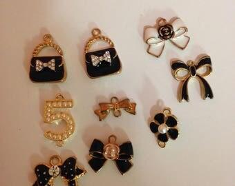 9 small metal charms
