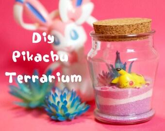 DIY Pokemon Terrarium Kit + Pokemon Art Print, Anime Decor, Pokemon Gifts, Anime Gifts, Pikachu Terrarium