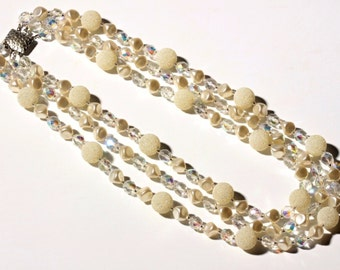 Vintage Czech 3 strand necklace faux pearl crystal AB ballotini ball glass beads 12-66