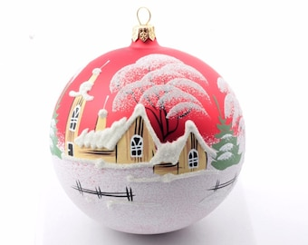 Large hand painted Czech glass Christmas tree ornament bauble decoration red #78