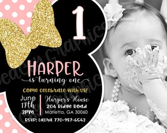 Minnie Mouse Birthday Party Invitation - Minnie Bowtique Party Invite - Pink and Gold - DIY Girl Minnie Birthday Invitations - Gold Glitter