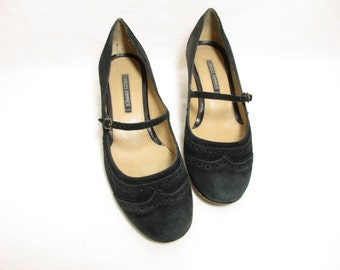 Vintage French Black Suede All Leather Wingtip Heeled Mary Janes / Shoes / Size :  EU 38 / US Women's 7 1/2 / UK Women's 5