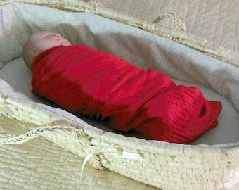 Baby muslin blanket, red muslin swaddle, baby gauze swaddle, lightweight swaddle, baby gauze blanket, baby muslin swaddle, baby gauze wrap